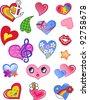A set of comic hearts - stock vector