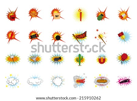 a set of comic items and expressions on a white background - stock vector