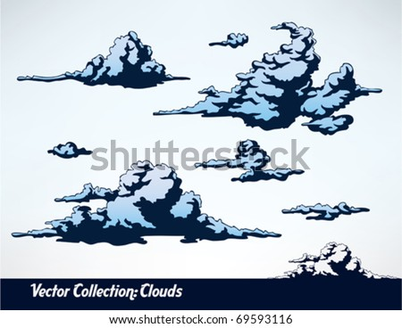 a set of comic style vector clouds - stock vector