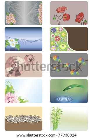 a set of credit cards with abstract floral background in different styles