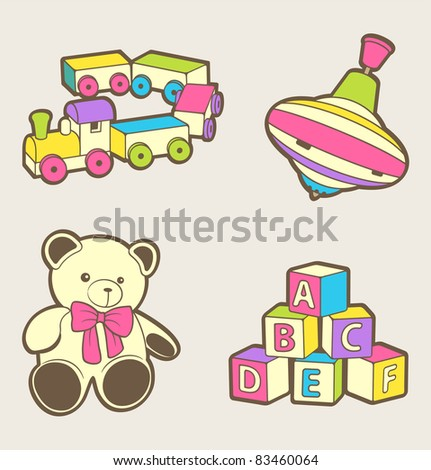A set of cute baby toys - stock vector