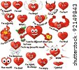 A set of cute cartoon hearts expressing different emotions - stock vector