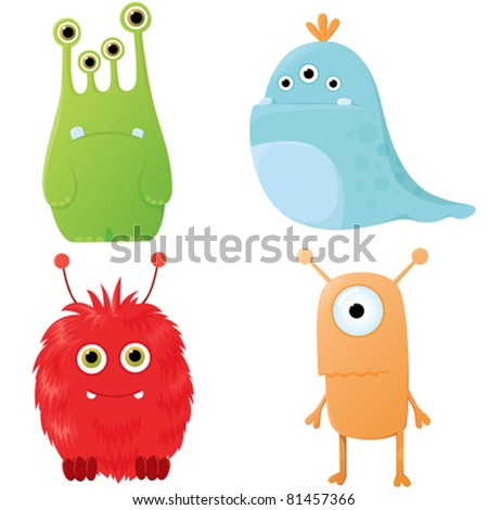 A set of cute cartoon monsters showing different emotions. - stock vector