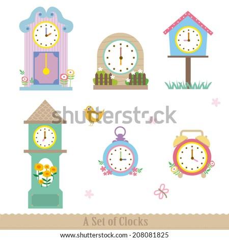 set cute clocks stock vector royalty free 208081825 shutterstock
