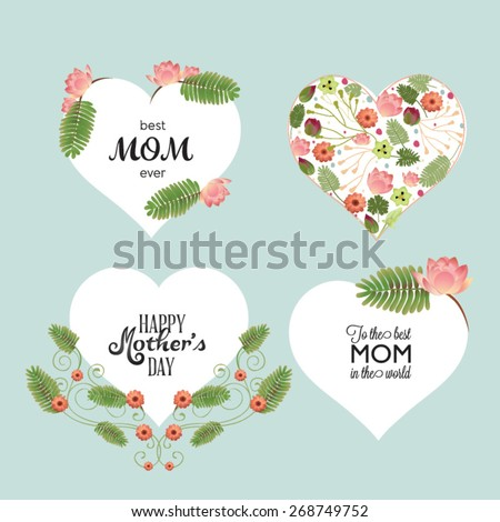 A set of cute design elements for Mother's Day. - stock vector