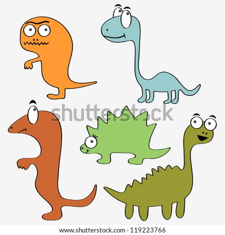 A set of cute dinosaurs