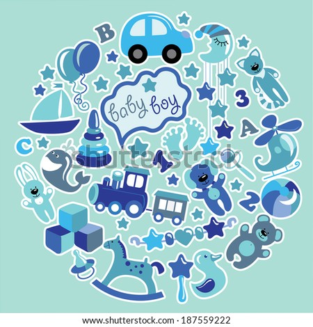 A set of cute items of toys for new born baby-boy in the form of a circle. Blue colors.Vector icons,design elements. - stock vector