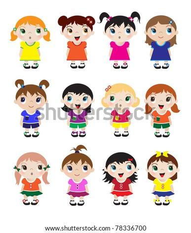 A set of cute little girl mascots. EPS10 vector format - stock vector