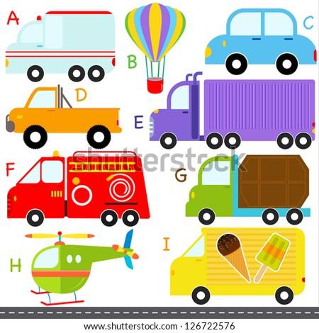 A set of cute vector A-Z alphabets : Car / Vehicles / Transportation - stock vector