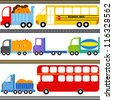 A set of cute Vector Icons : Bus, Truck Vehicles / Freight Transportation - stock vector