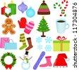 A Set of Cute Vector Icons : Winter / Christmas Theme - stock vector