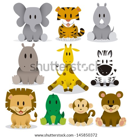A set of cute vector wild animals