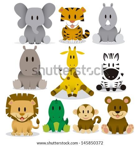 A set of cute vector wild animals - stock vector