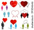 A set of dating and love chat icons - stock photo