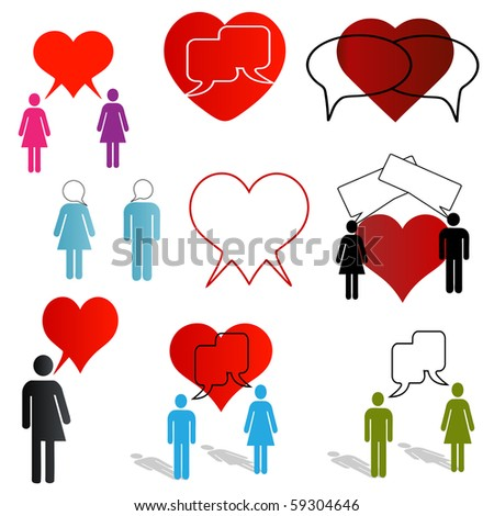A set of dating and love chat icons - stock vector