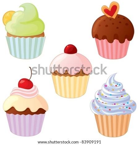 A set of delicious cupcakes. - stock vector