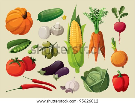 A set of delicious vegetables. - stock vector