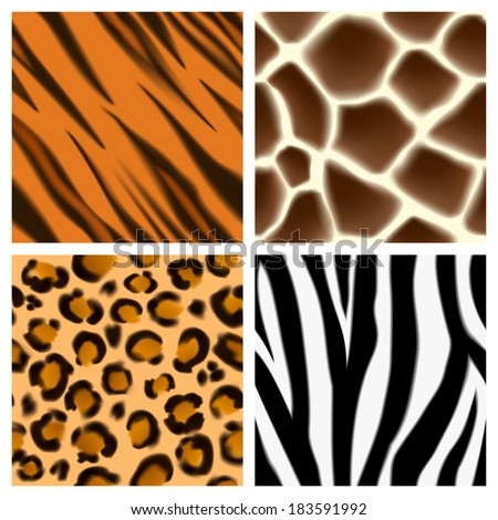 A set of detailed animal print seamless patterns or textures. Giraffe, cheetah or leopard, zebra and tiger skins - stock vector