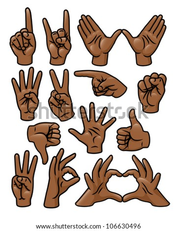 A set of 15 different cartoon hands in various poses. Eps 10 Vector. - stock vector