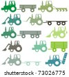 A set of different colored outlined agricultural tractors - vector cartoon illustration - stock vector