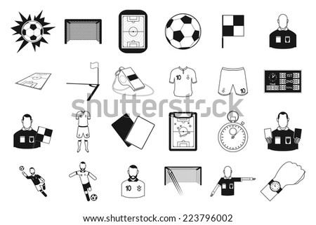 a set of different soccer related elements on a white background - stock vector