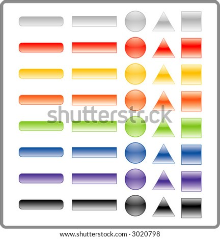 a set of 5 different styles of buttons in 8 different colors. a total of 40 buttons. - stock vector