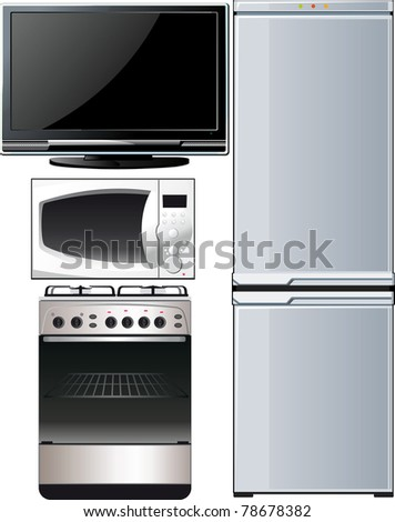 a set of different techniques, television, refrigerator, stove, microwave