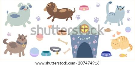 A set of different useful things for cartoon dog and cats - collar, cage, toys, bowls, mouse, fish - stock vector