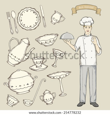 A set of dishes with the chef. The sketch vector illustration. - stock vector