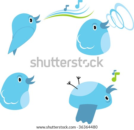 a set of drawing chicks for design - stock vector
