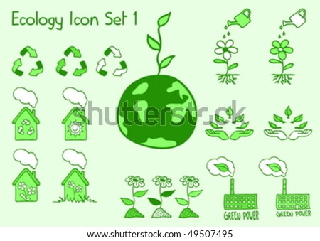 A set of ecology icons in doodle style - stock vector