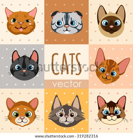 A set of eight colorful cartoon cat faces, different characters - stock vector