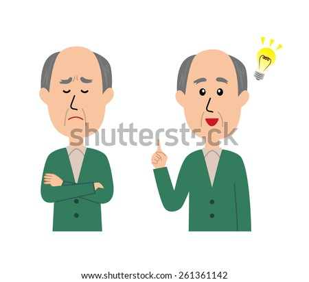 A set of elderly man, thinking and idea concept, vector illustration - stock vector