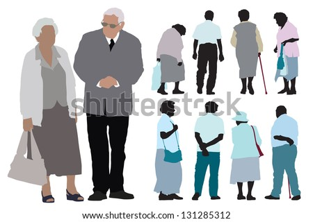 A set of elderly people silhouettes over white background. - stock vector