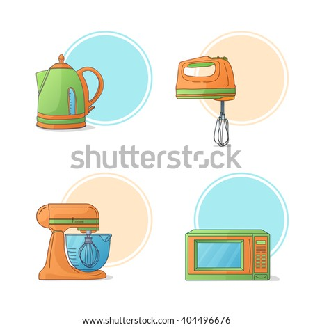 A set of electrical kitchen appliances. Kitchen appliances in cartoon style. Icons, stickers, labels with kitchen appliances. Kitchen microwave color. Kitchen hand mixer. Kitchen ladle. Vector.  - stock vector