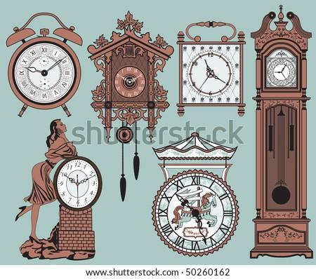 A set of elegant antique clocks - stock vector