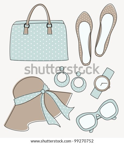 A set of elegant female fashion accessories in pastel colors.