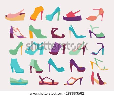 A set of  elegant High Heels Women Shoes  Flat icons set  - stock vector