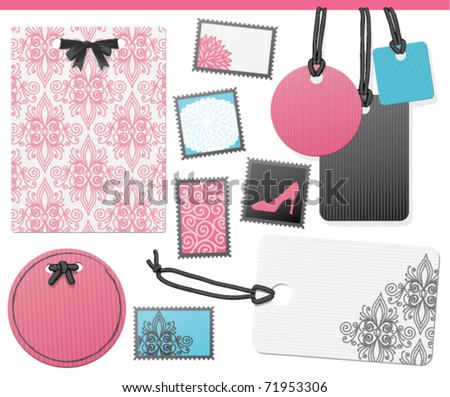 A set of elegant pink, blue, and black tags and labels. The pink is Honeysuckle, Customize with your text. EPS 10