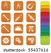 A set of engineering icons with orange background, but can be changed to any color. - stock vector