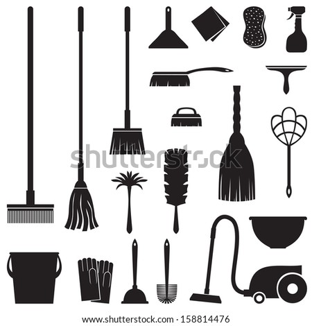 A set of equipment for house cleaning - stock vector