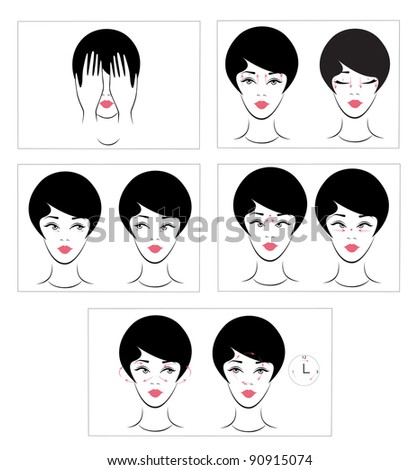 A set of exercises for the eyes. - stock vector