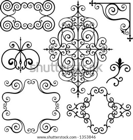 A set of 7 exquisitive and very clean ornamental designs. - stock vector