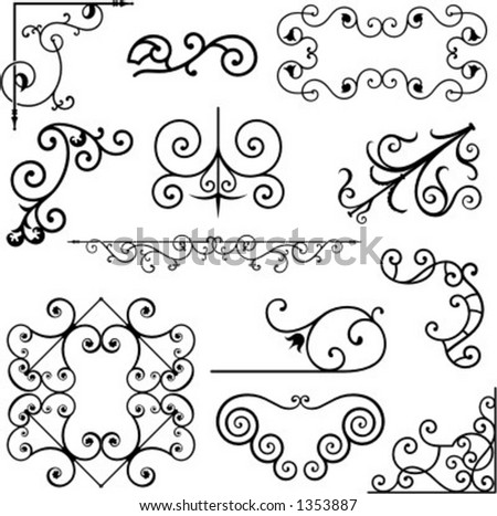 A set of 12 exquisitive and very clean ornamental designs. - stock vector