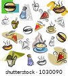 A set of fastfood vector icons in color, and black and white renderings. - stock photo