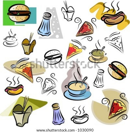 A set of fastfood vector icons in color, and black and white renderings. - stock vector
