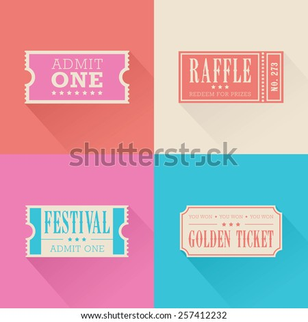 A set of festival themed admission tickets  - stock vector