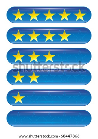 A set of five star rank icons - stock vector