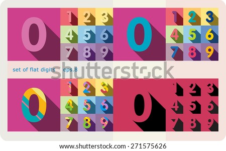 A set of flat digits with shadows.Zero 0 One 1 Two 2 Three 3 Four 4 Five 5 Six 6 Seven 7 eight 8 nine 9 - stock vector