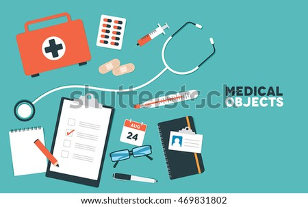 A set of flat healthcare and medical vector objects